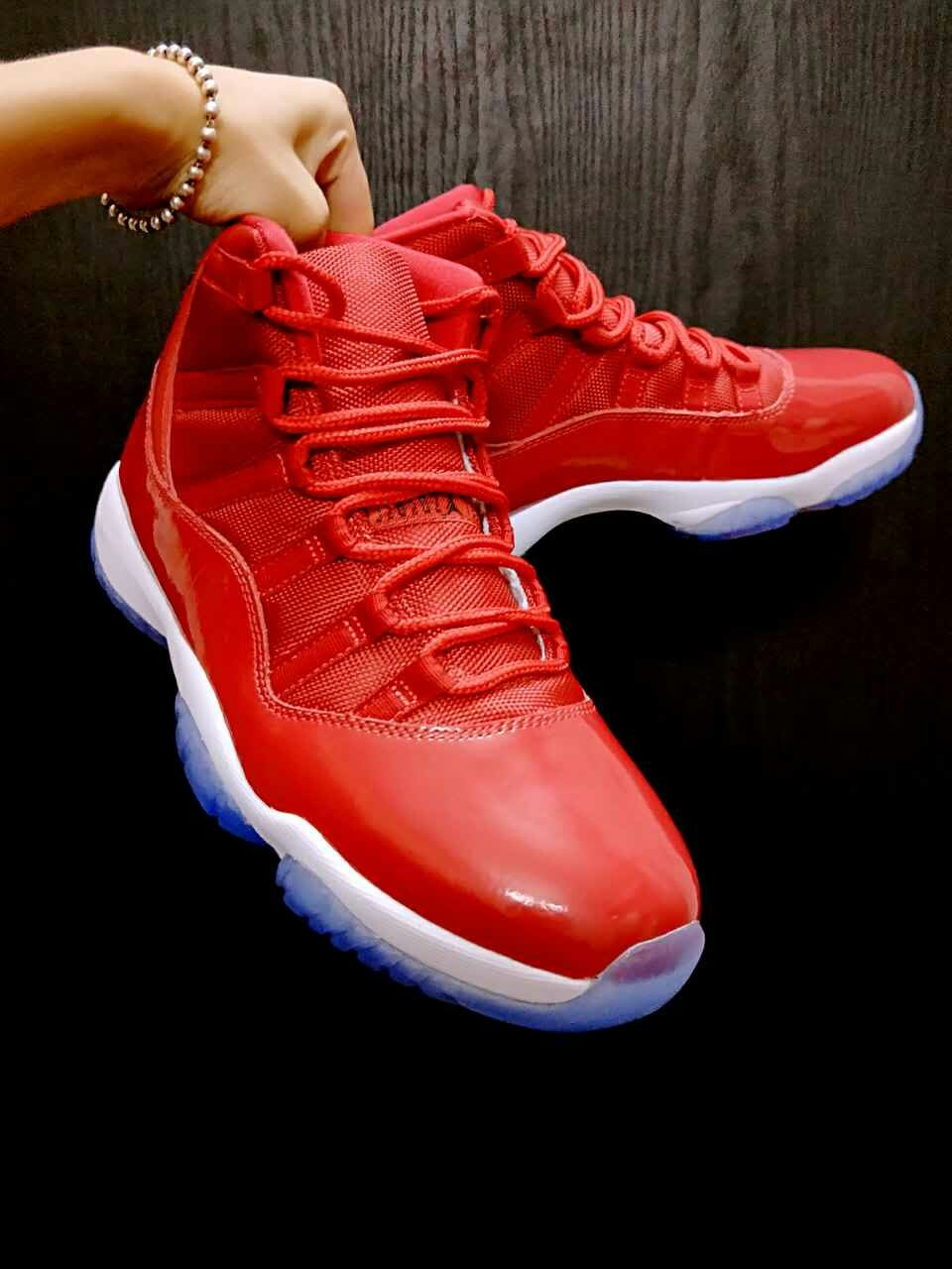 2017 Women Air Jordan 11 All Red Ice Blue Shoes