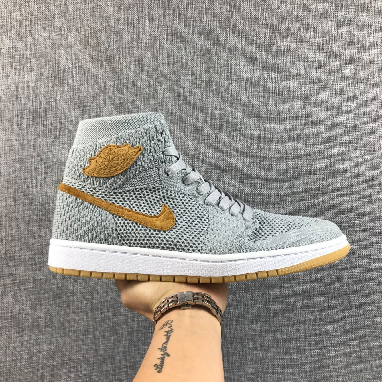 2017 Men Air Jordan 1 Flyknit Grey Yellow Shoes