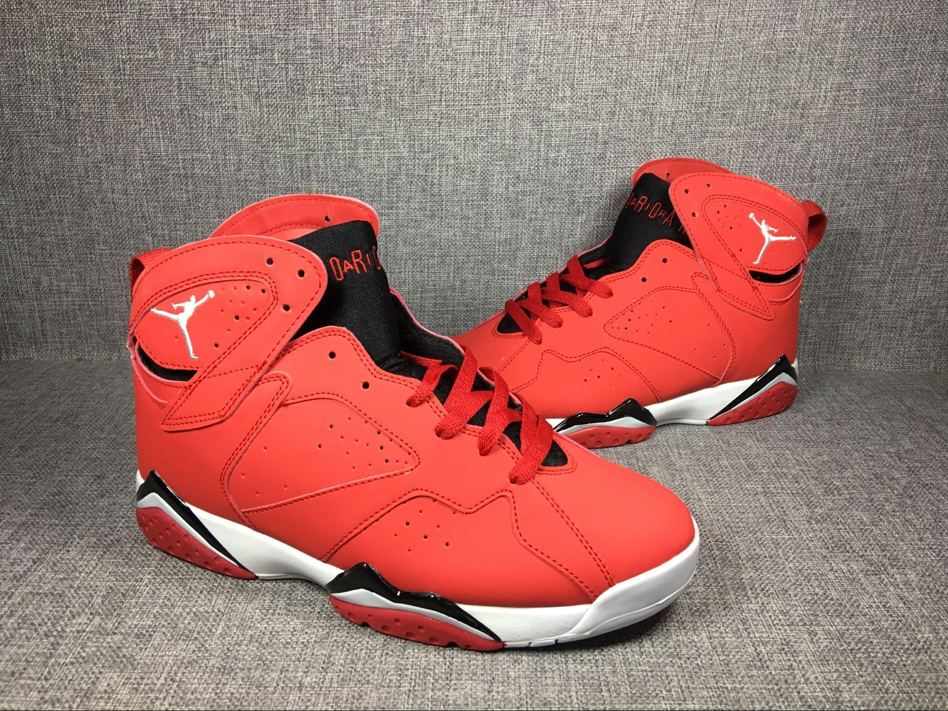 2017 Men Air Jordan 7 Red Black White Shoes