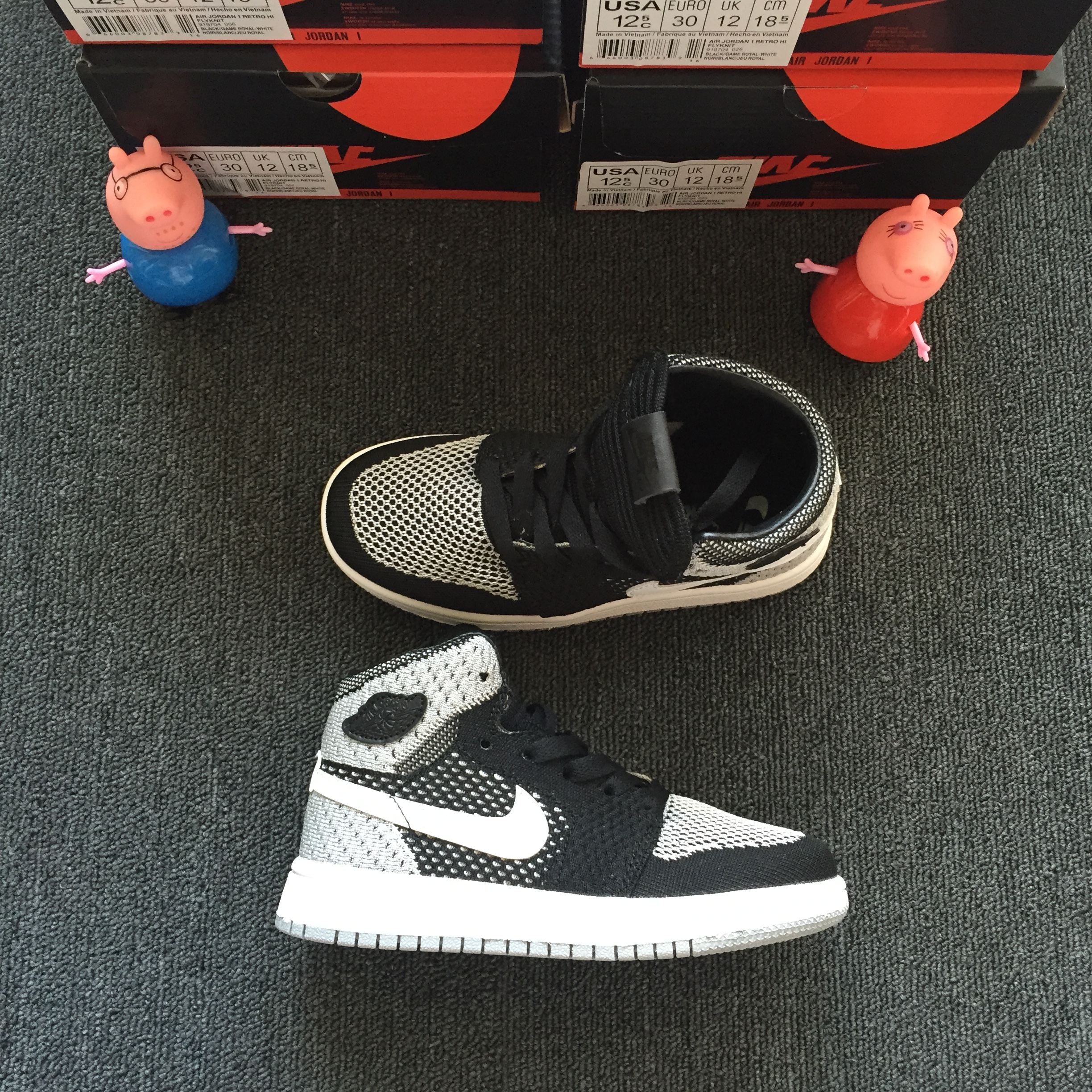 2018 Air Jordan 1 Knit Black White Shoes For Kids