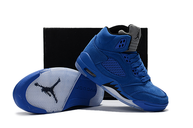 2018 Air Jordan 5 All Blue Shoes For Kids