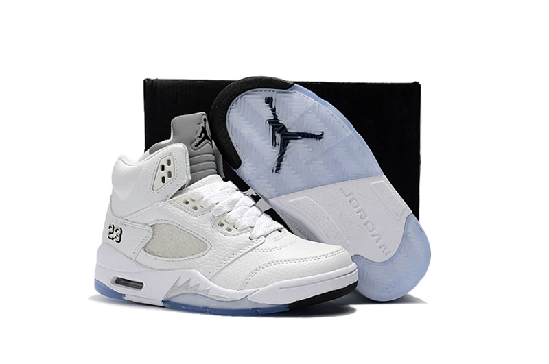 2018 Air Jordan 5 All White Shoes For Kids