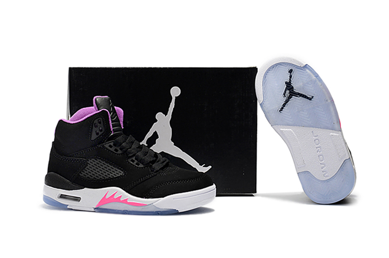 2018 Air Jordan 5 Black Pink Purple Shoes For Kids