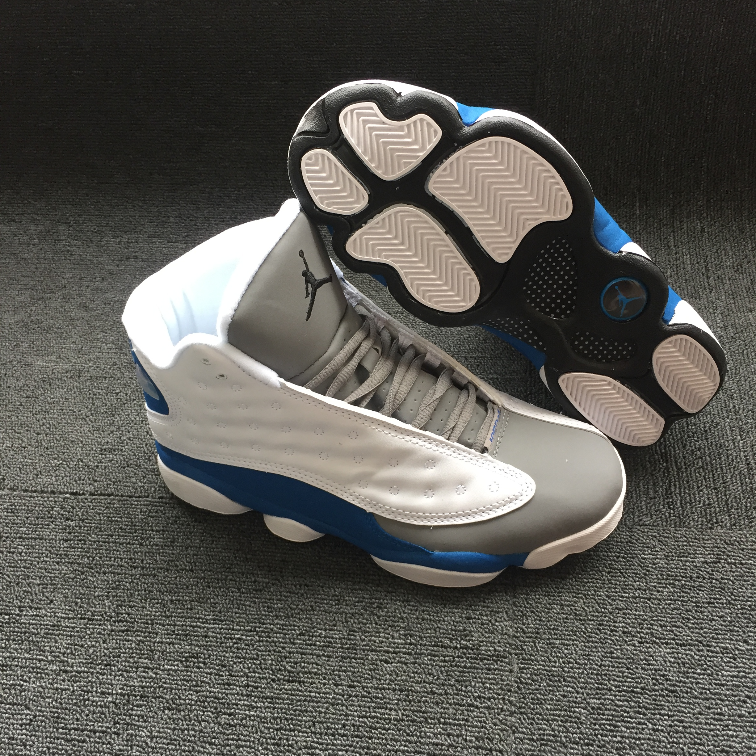 2018 Men Air Jordan 13 White Grey Blue Shoes
