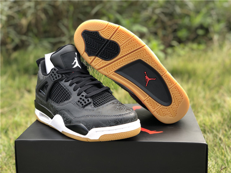 new jordan 4 retro se laser black gum shoes