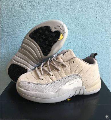 Air Jordan 12 Beign Grey White Shoes For Kids