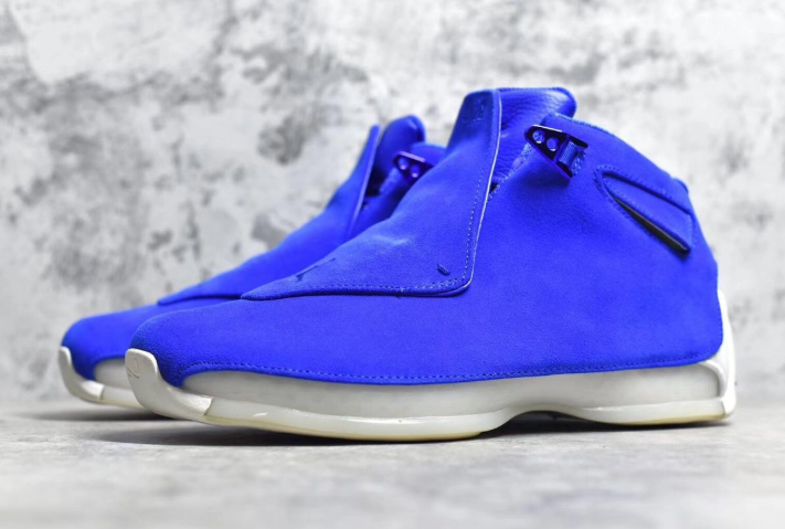 Real Jordan 18 Blue Suede Shoes