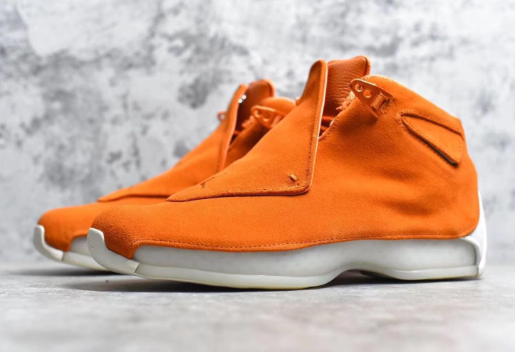 Real Jordan 18 Orange Suede Shoes