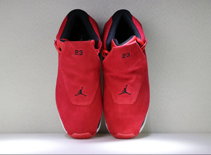 Real Jordan 18 Toro Gym Red Black Shoes