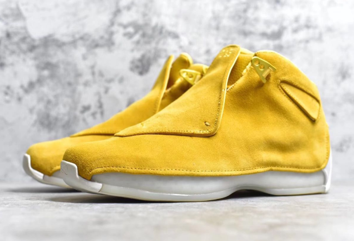Real Jordan 18 Yellow Suede Shoes