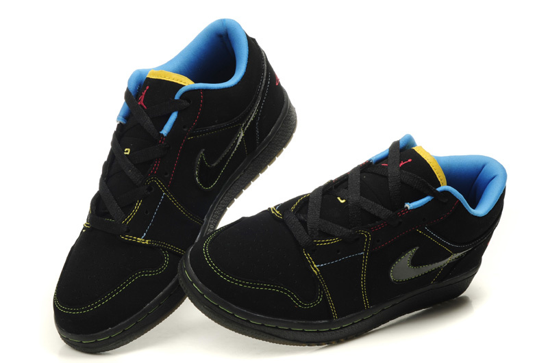 Comfortable Low-cut Air Jordan 1 Black Blue Shoes