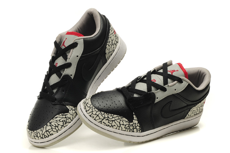 Comfortable Low-cut Air Jordan 1 Black Grey Cement Shoes