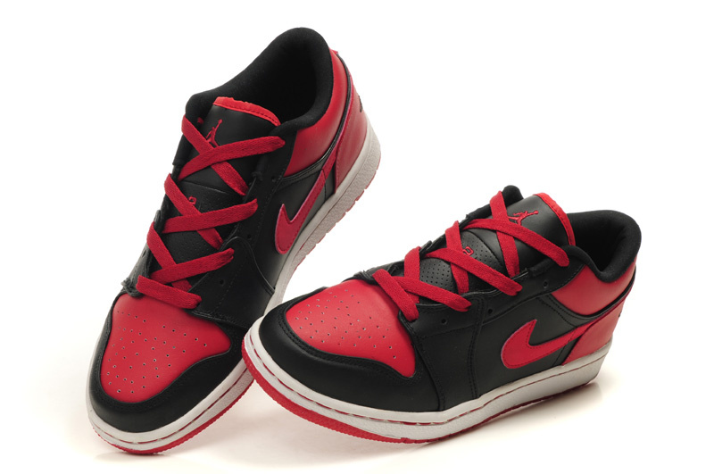 Comfortable Low-cut Air Jordan 1 Black White Red Shoes