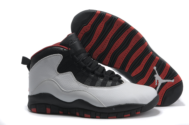 Air Jordan Retro 10 Shoes Black Grey Red