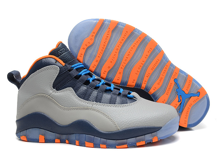 Air Jordan 10 X Retro Bobcats Wolf Grey New Slate Atomic Orange Dark Powder Blue