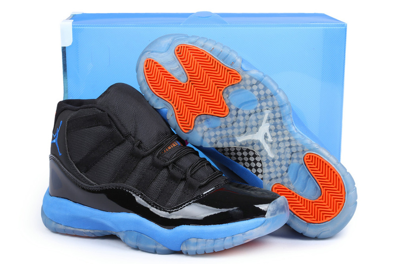 Air Jordan 11 Knicks Edition Black Blue Orange Shoes