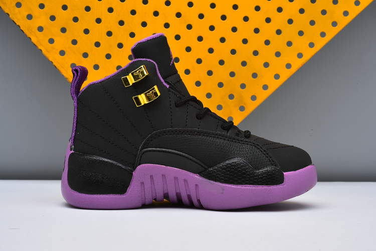 Air Jordan 12 Black Purple Shoes For Kids