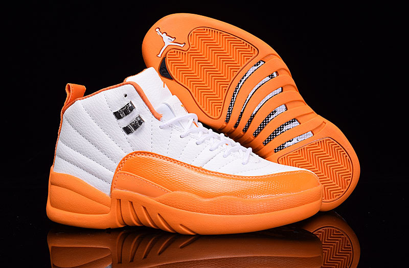 Air Jordan 12 GS White Orange