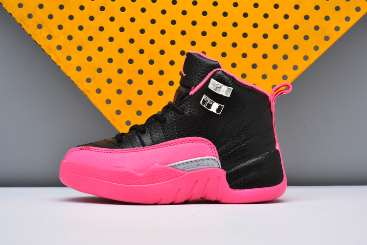 Air Jordan 12 Pink Black Silver Shoes For Kids