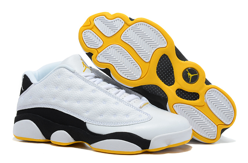 Air Jordan 13 Low White Black Yellow Shoes