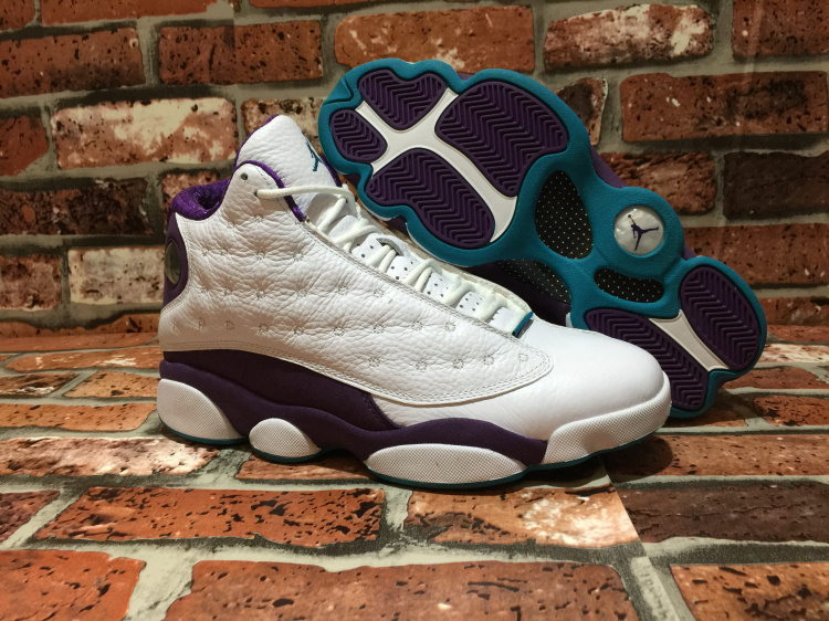 New Air Jordan Retro 13 Hornets White Purple Shoes