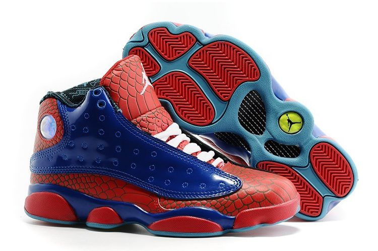 Air Jordan 13 Spiderman Blue Red Snakeskin