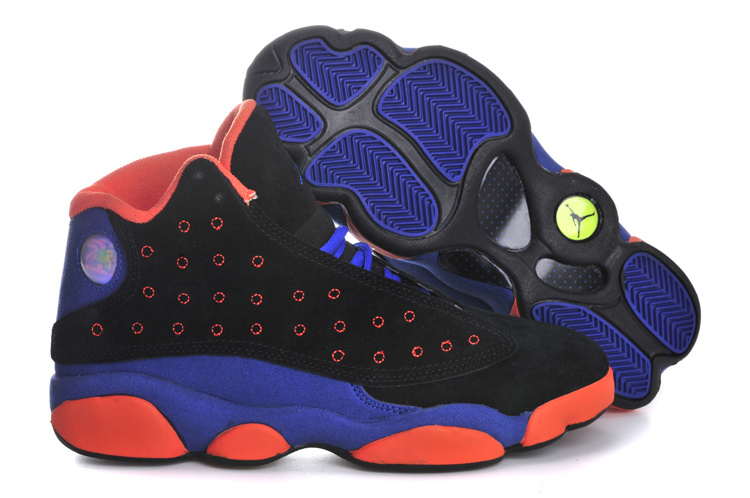 Air Jordan 13 Suede Black Blue Orange Shoes