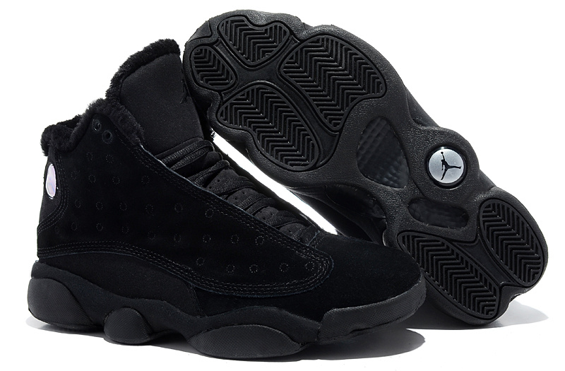 2013 Comfortable Air Jordan 13 Wool All Black Shoes