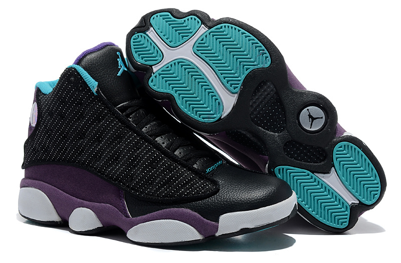 2013 Comfortable Air Jordan 13 Wool Black Purple White Shoes