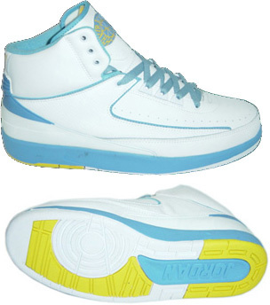 Cheap And Comfortable Air Jordan 2 White Light Blue Yellow Chrome