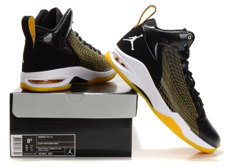 Handsome Jordan 23 Fly Spiderman Black Yellow White