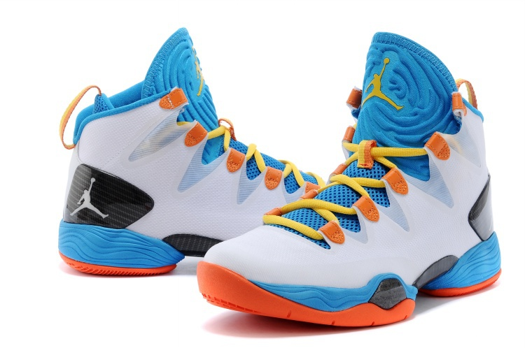 Air Jordan 28 SE White Blue Orange Black Yellow Shoes