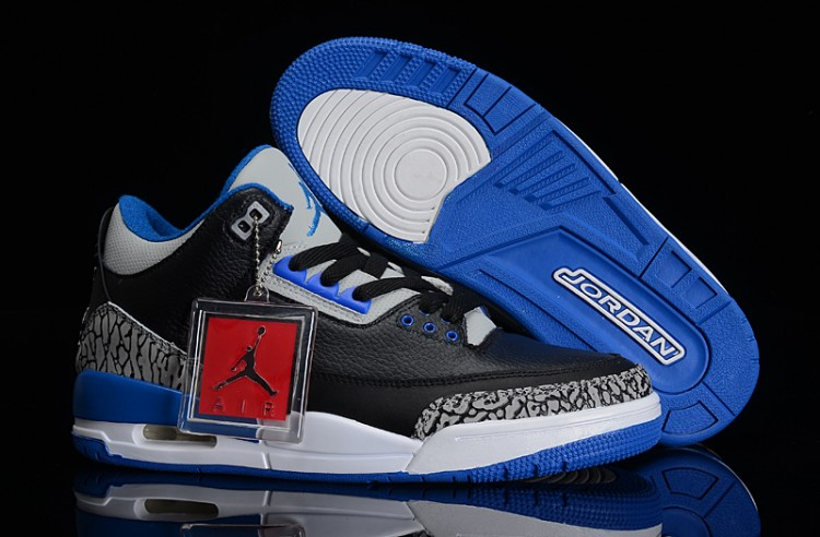 Air Jordan 3 Retro Sport Blue Black Sport Blue Wolf Grey