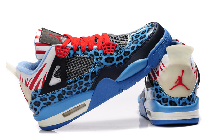 Authentic 2013 Air Jordan 4 Leopard Print Blue Black White Red Shine Shoes