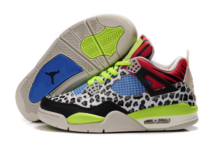 Authentic 2013 Air Jordan 4 Leopard Print White Black Green Red Shine Shoes