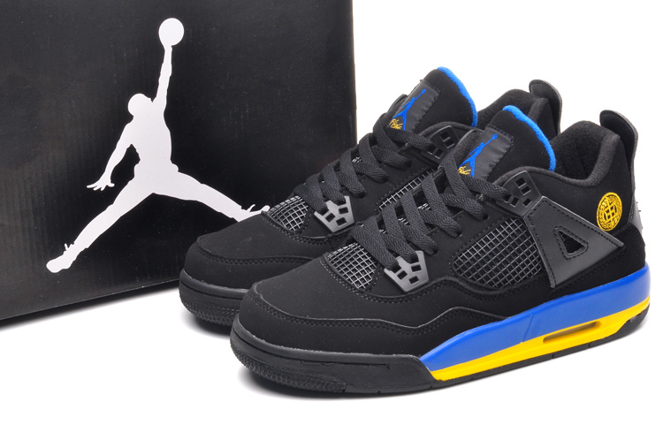 New Air Jordan Retro 4 Black Blue Yellow Lovers Shoes
