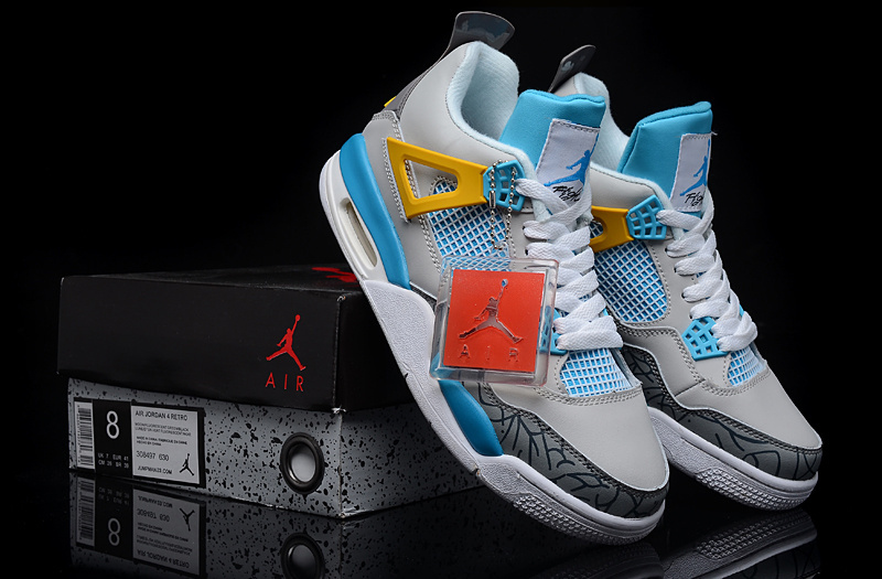 New Air Jordan Retro 4 Grey Light Blue Yellow Shoes
