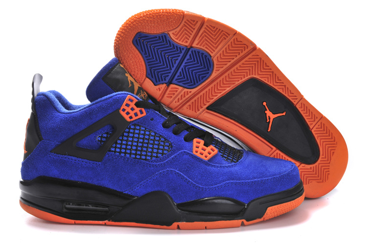 Air Jordan 4 Suede Blue Black Orange Shoes