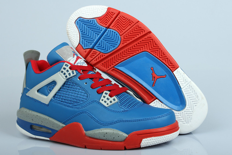 Air Jordan 4 Superman Edition Blue Red Grey White Shoes