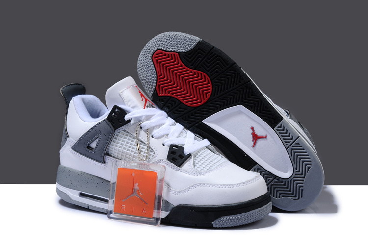 New Arrival Air Jordan 4 White Black Grey For Women