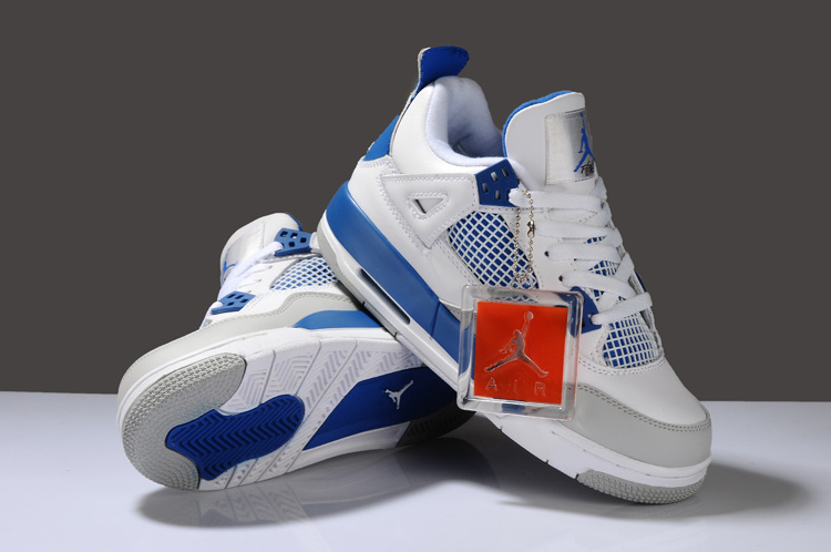 New Arrival Air Jordan 4 White Blue Grey For Women