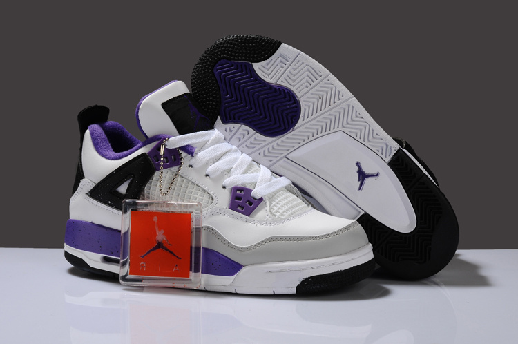 New Arrival Air Jordan 4 White Purplr Grey Black For Women