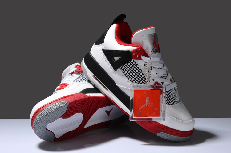 New Arrival Air Jordan 4 White Red Black For Women