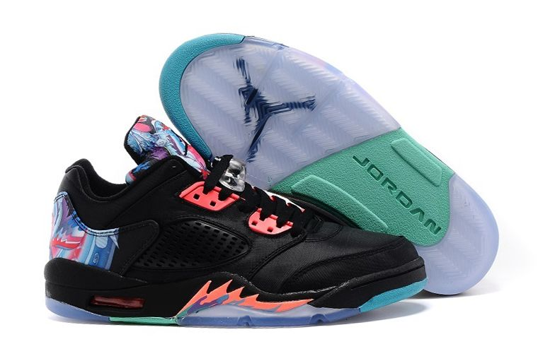 Air Jordan 5 Low Chinese New Year Black Bright Crimson Beta Blue Shoes