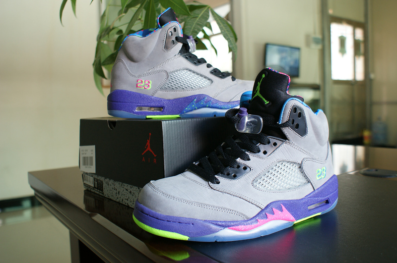 Air Jordan 5 Mandarin Duck Edition Grey Purple Pink Green Shoes
