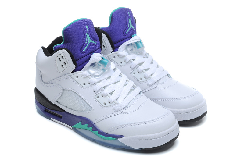 Air Jordan 5 Retro White New Emerald Grape Ice Blue