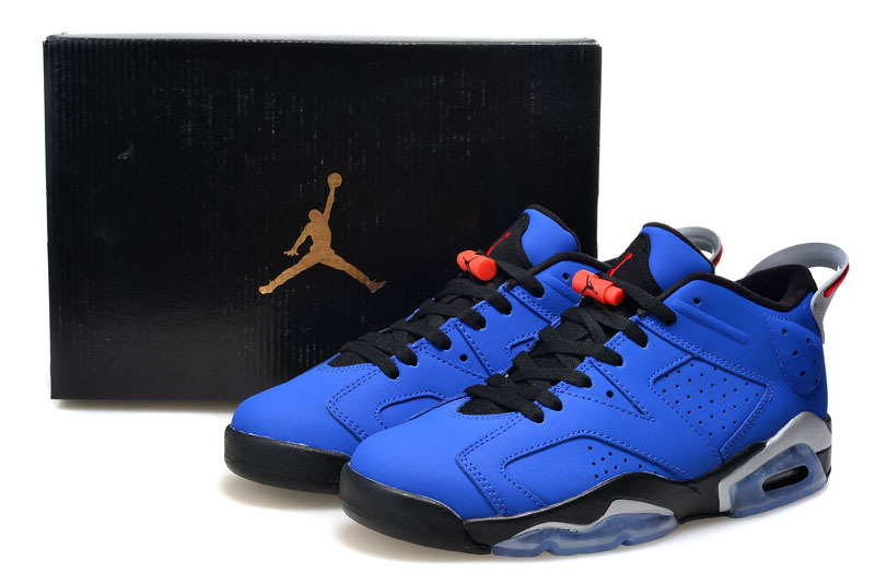 2015 Real Air Jordan 6 Low Cut Blue Black Shoes For Women