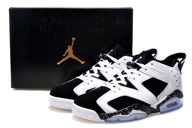 2015 Real Air Jordan 6 Low Cut White Black Shoes For Women
