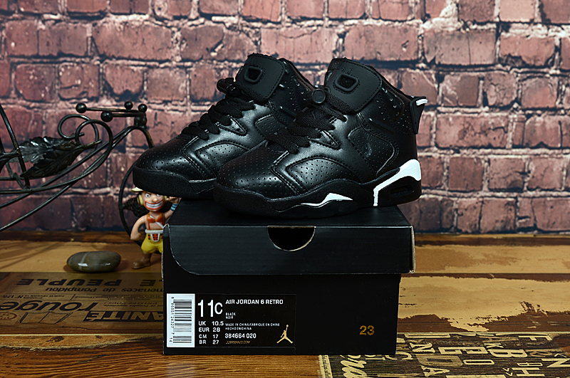 Air Jordan 6 Retro All Black Shoes For Kids