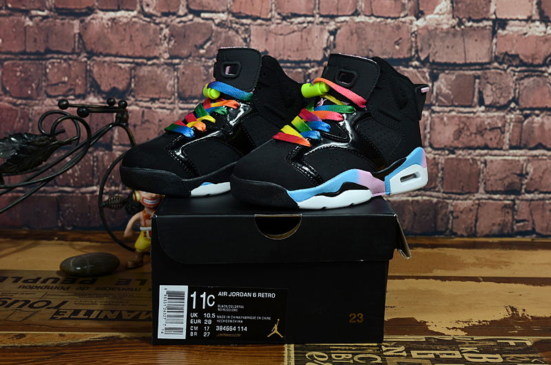 Air Jordan 6 Retro Black Colorful Shoes For Kids